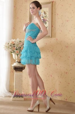 Teal Column Sweetheart Mini-length Organza Beading and Ruch Prom / Cocktail Dress