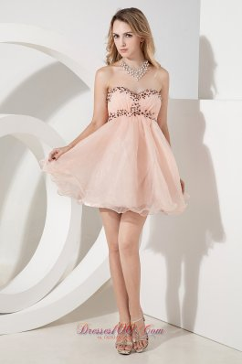 Baby Pink A-line / Princess Sweetheart Beading Short Prom Dress Mini-length Organza