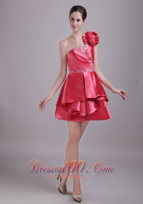 Red A-Line / Princess One Shoulder Mini-length Taffeta Rhinestone Prom / Homecoming Dress