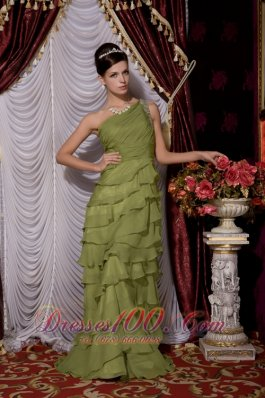 Olive Green Empire One Shoulder Brush Train Chiffon Beading Prom / Evening Dress