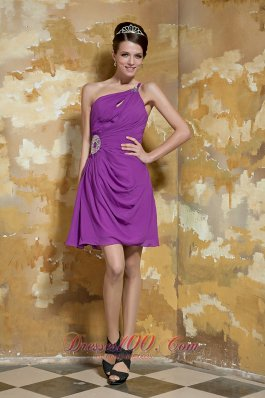 Lavender Empire One Shoulder Mini-length Chiffon Beading Prom Dress