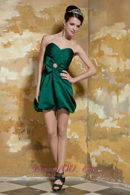 Dark Green Column Sweetheart Mini-length Taffeta Beading Prom Dress