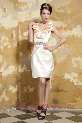 Champagne Column V-neck Mini-length Taffeta Beading Prom Dress