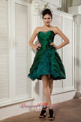 Popular Dark Green A-line / Princess Prom / Homecoming Dress Sweetheart Taffeta and Organza Beading Mini-length