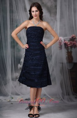 Navy Blue A-line Strapless Knee-length Satin Ruch Bridesmaid Dress