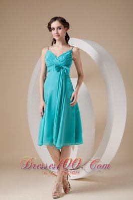 Turquoise Column / Sheath Spaghetti Straps Knee-length Chiffon Bow Prom Dress
