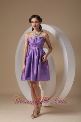 Lavender A-line Strapless Mini-length Taffeta Ruch Prom / Homecoming Dress
