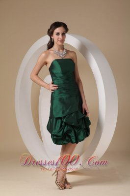 Dark Green Column Strapless Knee-length Taffeta Beading Prom / Homecoming Dress