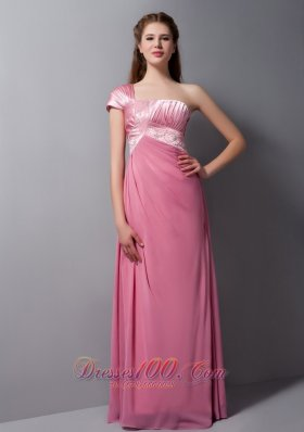 Pink Column One Shoulder Floor-length Taffeta and Chiffon Beading Prom Dress