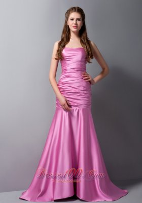 Rose Pink Mermaid Strapless Brush Train Taffeta Ruch Prom Dress