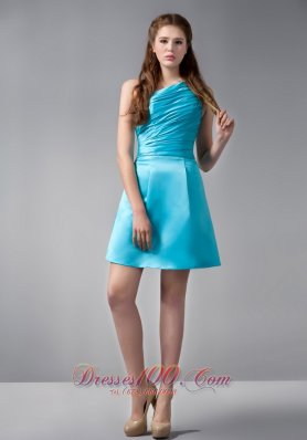 Aqua Blue A-line One Shoulder Mini-length Taffeta Ruch Prom Dress
