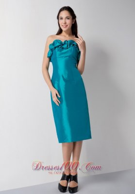 Teal Column Strapless Tea-length Taffeta Prom Dress