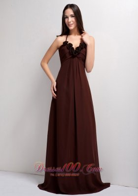 Brown Empire Sweetheart Brush Train Chiffon Hand Made Flowers Prom Dress