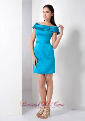 Teal Column Off The Shoulder Mini-length Satin Homecoming Dress