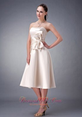 Champagne A-line / Princess Strapless Tea-length Satin Sash Bridesmaid Dress
