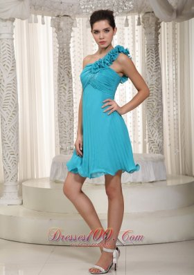 Brand New Empire One Shoulder Mini-length Chiffon Beading and Handle Flowers Prom Dress