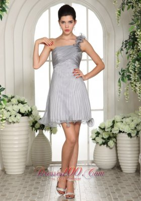 Gray Empire One Shoulder 2013 Prom Dress With Ruch Organza In Mississippi