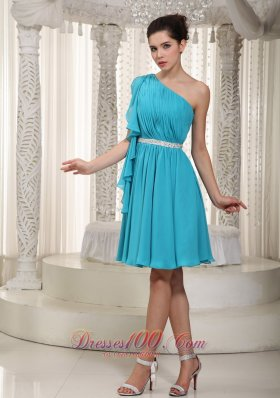 Teal Empire One Shoulder Mini-length Chiffon Beading Prom Dress