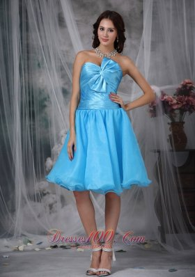 Aqua Blue A-line / Princess Sweetheart Knee-length Organza Pleat and Bow Prom / Homecoming Dress