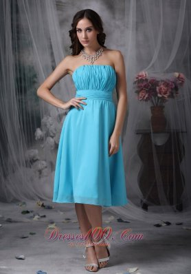 Aqua Blue Empire Strapless Knee-length Chiffon Ruch Prom Dress