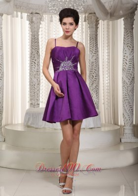 Purple A-line / Princess Straps Mini-length Satin Beading Prom / Homecoming Dress