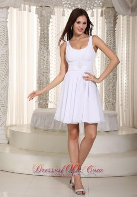 White Empire Straps Mini-length Chiffon Beading Prom Dress