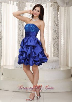 Blue A-line Strapless Knee-length Sequins and Pick-ups Taffeta Prom Dress