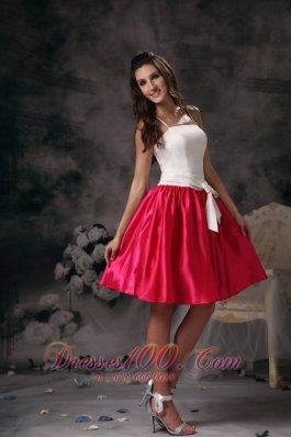 White and Hot Pink A-line Straps Mini-length Taffeta Bow Prom Dress