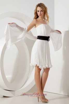 White Empire Strapless Mini-length Organza Belt Prom / Homecoming Dress