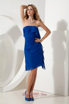 Royal Blue Column Strapless Knee-length Chiffon Prom / Homecoming Dress
