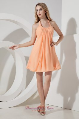 Orange A-line / Princess Halter Mini-length Chiffon Ruch Prom Dress