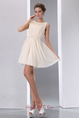 Champagne A-line Sccop Mini-length Chiffon Ruch Prom Dress