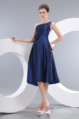 Navy Blue Empire One Shoulder Knee-length Taffeta Hand Made Flowers Prom / Homecoming Dress