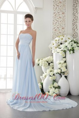 Light Blue Empire Strapless Brush Train Chiffon Beading Prom / Graduation Dress
