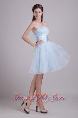 Baby Blue A-line Strapless Short Organza Beading and Ruch Cocktail Dress