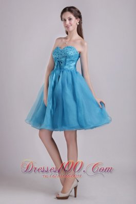Teal A-line Sweetheart Short Organza Beading and Bow Prom / Homecoming Dress