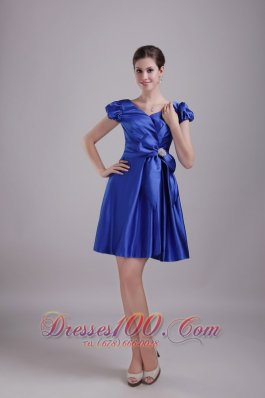 Blue A-Line / Princess V-neck Mini-length Taffeta Beading Bridesmaid Dress