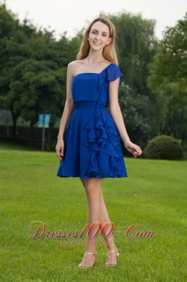Blue A-line One Shoulder Mini-length Chiffon Bridesmaid Dress