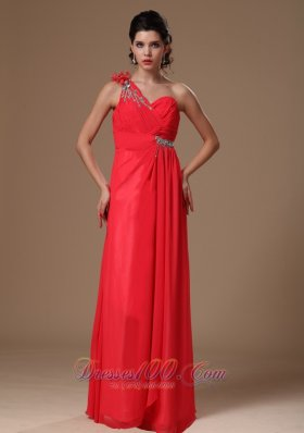 Coral Red One Shoulder Floor-length Empire Chiffon Beaded Decorate Shoulder Prom Dress For 2013 Custom Made
