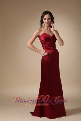 Wine Red Column Sweetheart Brush Train Satin Ruch Prom / Evening Dress