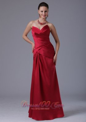 Wine Red Column V-neck Prom Dress With Ruched Decorate Bust In Branford Connecticut