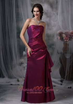 Burgundy Elegant Bridesmaid Dress Column Strapless Taffeta Appliques Floor-length