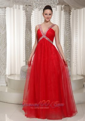 Long Prom Dress With V-neck Red Chiffon 2013