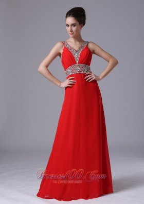 Beaded Decorate Shoulder Empire Chiffon Red V-neck Prom Dress Floor-length