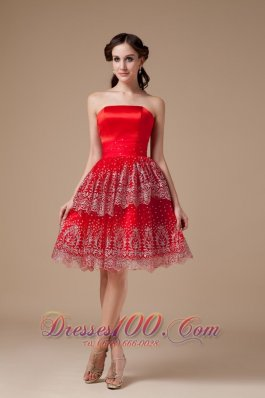 Sexy Red A-line Strapless Prom Dress Taffeta Beading Knee-length