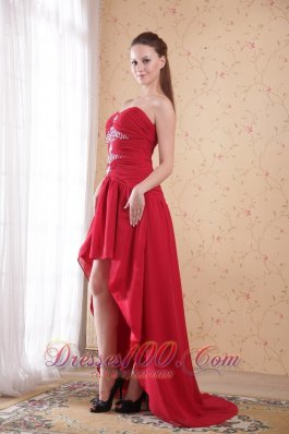 Wine Red A-Line / Princess Sweetheart High-low Chiffon Beading Prom Dress