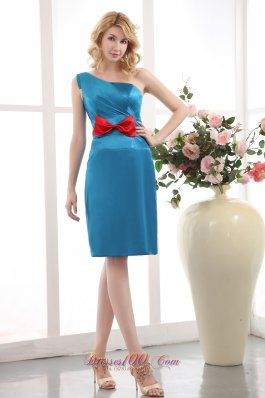 Elegant Sky Blue Cocktail Dress One Shoulder Column Bow Mini-length Taffeta
