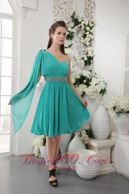 Turquoise Empire One Shoulder Knee-length Chiffon Beading Bridesmaid Dress