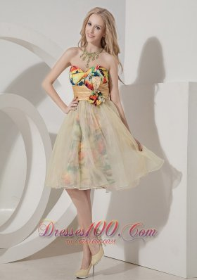 Colorful Knee-length Printing Short Prom Dress with Beading