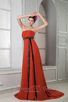 Elegant Rust Red Column Strapless Prom / Homecoming Dress Chiffon Sash Brush Train